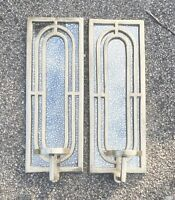 Set of 2 Wall Hanging Sconce Mirror Candle Holders Gold Painted Metal Art Deco