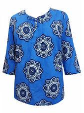 Ulla Popken Pure Cotton Print Top Plus Size 16/18 - 36/38 Ladies Blue Tunic 261