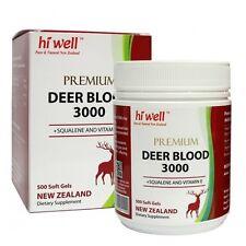 Hi Well Premium NEW ZEALAND Deer Blood 3000 ( 500 ) Capsules FREE SHIPPING