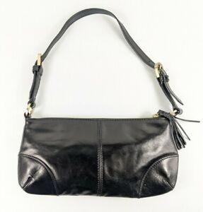 M & S Limited Collection Small Black Leather Handbag 26cm X 13.5cm Pristine