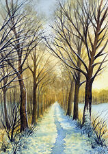 """Watercolor Original 5"""" x 3,5"""" Painting a Day Winter by Elena Mezhibovsky"""