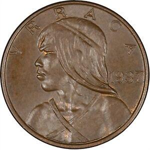 Panama 1937 Centesimo UNC, SOME RED