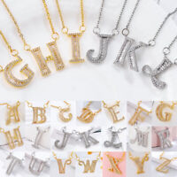 Hot A-Z Initial Letter Name Pendant Necklace Gold/Silver Plated Crystal Chain