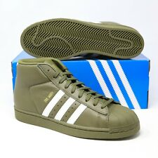 Adidas Pro Model Mens Leather Olive Cargo Green White Gold AC7067 Mid Basketball
