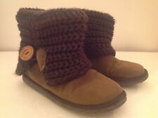 Muk Luks Ankle Boots Womens 6 Brown Faux Suede w/ Sweater Knit Cuff Flat
