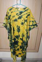 Women'S Long Yellow Kaftan Plus Size Night Maxi Gown Tie Dye Lounge wear S-8X