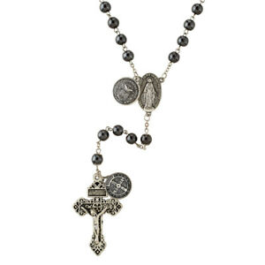 Air Force Armed Forces Military Hematite Rosary with Saint Benedict Medal