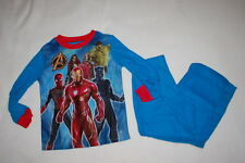 Boys L/S Pajamas Set Avengers Flannel Hulk Spiderman Black Panther Blue L 10-12