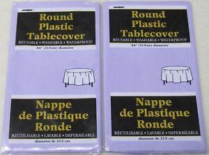"Lot of 2- Unique Lavender Round Plastic 84"" Tablecloth Tablecover Reusable Party"