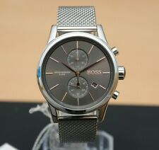 NEW HUGO BOSS 1513440 MENS STAINLESS STEEL MESH GREY DIAL JET MENS FASHION WATCH