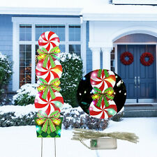 Xmas Deer Elk Outdoor Hanging Decor for Yard Garden Patio Pathway Party Decoration 1 Christmas Windsock 40 Inch Reindeer Winter Flags Outdoor Hanging with White LED Lights