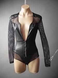 Black Cyber Punk Goth Fishnet Faux Leather Plunge Neck Top 236 mv Bodysuit S M L