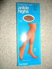 Vintage Fred Meyer 2 pair ankle highs woman beige tone size 8-11