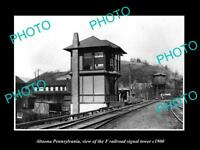 OLD LARGE HISTORIC PHOTO OF ALTOONA PENNSYLVANIA THE F RAILROAD TOWER c1900