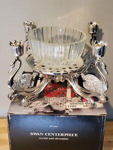 Godinger Swan Centerpiece Crystal & Silverplate Candle Flower Holder