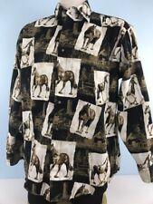 Cotton Traders Sport Shirt LEG L Cowboy Western Horses Button Front LS