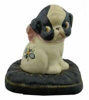 Vintage Puppy Dog Pillow Bee Dog Cast Iron Still Piggy Bank Penny Figurine B