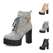 Women's Gothic Platform Block High Heel Buckle Strap Lace Ups Ankle Boots 34-43