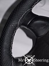 FOR 07+ NEW FIAT 500 PERFORATED LEATHER STEERING WHEEL COVER WHITE DOUBLE STITCH