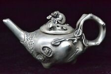 chinese Collectible Old tibet silver monkey Statue tree Big HANDWORK Teapot