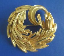 "vintage BSK WREATH CRESCENT Pin Brooch 2-1/4"""