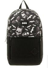 DC Comics Batman Backpack School Bag Black Bat Logo Skull Icon NEW