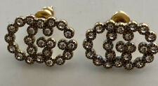 Gucci GG Logo Authentic Crystal Gold  Stud Pierced Earrings