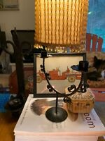VINTAGE CANDELABRA / CANDLE HOLDER 9 1/2 by 11 in WROUGHT IRON~RUSTIC~STEAMPUNK