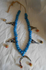 Vintage Blue Glass Wound Bead Seed Beads Wool Tassels Tribal Necklace