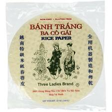Three Ladies Brand Spring Roll Rice Paper Wrapper (2 Packs) Round, 22cm New