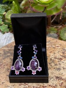 $17000 28 CARATS MULTI-COLORED SAPPHIRE RUBY DIAMOND EARRINGS 18K GOLD SILVER