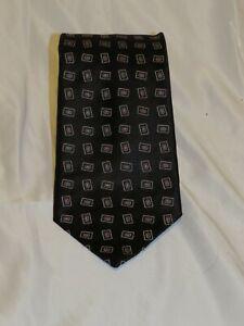 Brioni Black Rectangular Foulard long Wide Width Silk Tie NWT
