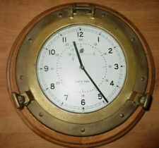 Vintage Ship's Time Brass Porthole Quartz Clock 13.5""