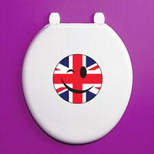 WINKING Smiley Face Bandiera Union Jack Circolo-Sedile WC Adesivo Vinile