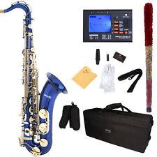 Mendini Bb Tenor Saxophone Sax ~Blue Lacquered +Tuner+Case+Carekit ~MTS-BL