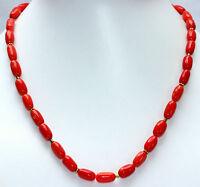 Bambu Koralle Kette Edelsteinkette Rot Collier Halskette 925 Silber 45 cm lang
