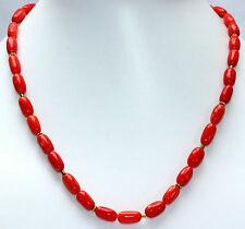 Bambù CORAL Collar con Plata 925 Cadena de piedras preciosas Rojo aprox. 45cm