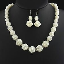 TEXTURED PEARL CHOKER NECKLACE and EARRINGS WEDDING SET 16ins 41cms UK SELLER
