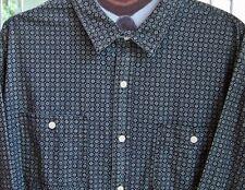 NEW FALLS CREEK Mens L Cotton Long Sleeve Black & Grey Pattern LS Button Shirt