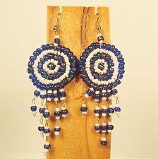 "2 1/2"" Blue White Color Handmade Dream Catcher Style Dangle Seed Bead Earring"