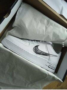 Nike Air Force 1 Low Sketch -White Black Size 11 UK Authentic