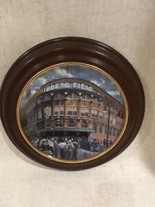 Bradford Framed Plate EBBETS FIELD Take Me Out to the Ball Game Brooklyn Dodgers