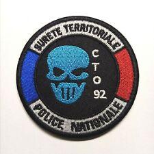 Ecusson Patch Police Sureté Territoriale CTO 92 à Scratch ou à Coudre 8 cm