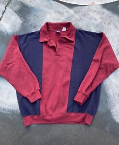 Vintage Color Block Crewneck Sweatshirt Collared Maroon Blue Striped Large Men's