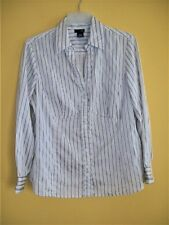 Womens East 5Th PLUS Sz 1X Striped TUNIC Button Front TOP Shirt V--Neck Neutrals