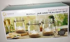 Order Home Collection Mason Jar and Tealight Set 3 Piece Hanging Set w/sand NEW