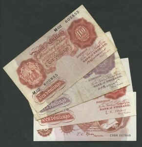 ENGLAND 10 shillings  choose Cashier from 1930 - 1971  British Banknotes