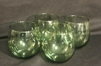 Set Of 4 Libbey Clear Green Stemless Cognac Brandy Snifters Wine Glass Tumblers