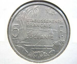 FRENCH OCEANIA 5 Francs 1952 Polynesia Tahiti France Nice 126# Money Coin
