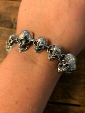 Skull Chain Bracelet 925 Sterling Silver NEW Gothic Biker Rock 8.5 Toggle Clasp